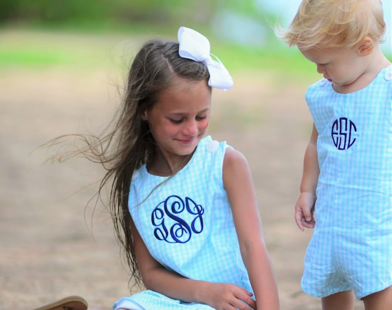 Girls Monogrammed Gingham Check Dress, Monogram Included, Matching Boys jon jon available, Gingham Dress, Monogrammed