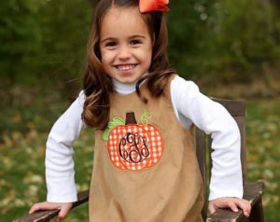 Girls Pumpkin Applique Dress, Girls Thanksgiving Dress, Perfect for Fall and Thanksgiving