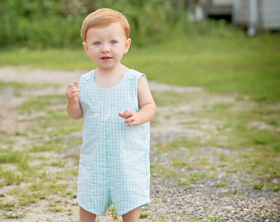 Boys Monogrammed Gingham Check Jon Jon, Monogram included, Monogrammed Jon Jon, Monogrammed Romper, Boys Shortall, Perfect for Beach photos