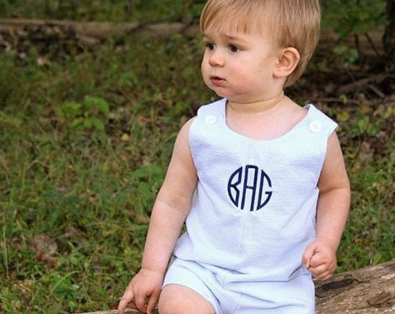 Boys Blue Seersucker Monogrammed Jon Jon, Perfect for beach pictures, Monogrammed Jon Jon Shortall, Girls Dress available in our shop