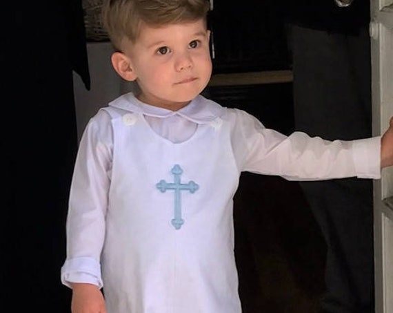 Boys Monogrammed White Longall, Monogram or Embroidered Cross included, Boys Shortall, Baptism outfit, Baby Boy Longall