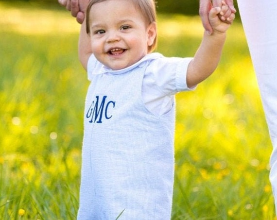Boys Blue Seersucker Jon Jon, Perfect for Family Photos, Monogrammed Jon Jon, Baby to Toddler sizes 3 month up to 3T
