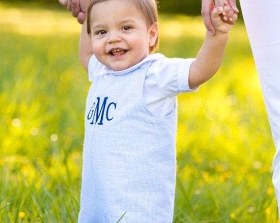 Boys Blue Seersucker Jon Jon, Perfect for Family Photos, Monogrammed Jon Jon, Baby to Toddler sizes 3 month up to 3T