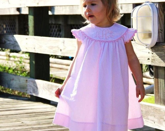 Girls Monogrammed Pink Seersucker Dress with Angel Sleeves, Girls Dress with Monogram, Girls Easter Dress