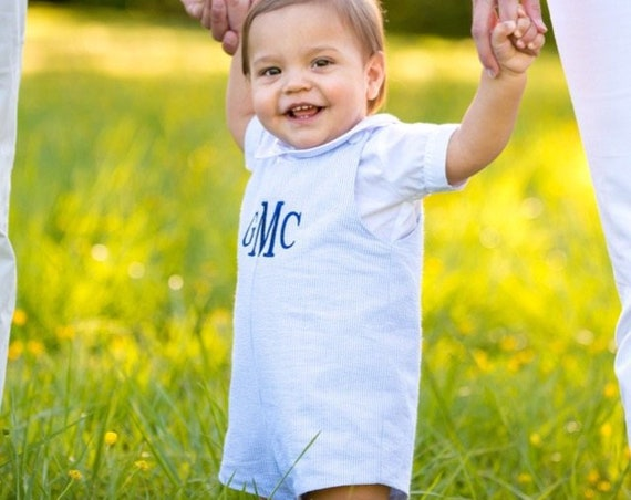 Boys Monogrammed Jon Jon, Perfect for beach pictures, Monogrammed Jon Jon Shortall, Girls Matching Dress available in our shop