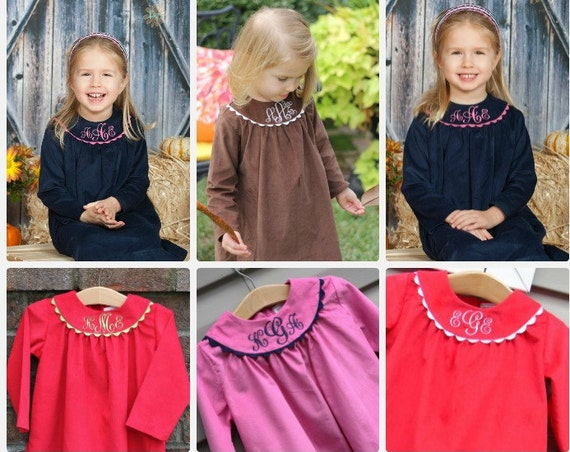 Girls Long Sleeve Monogrammed Fall and Winter Dresses, Girls Corduroy Dress, Monogrammed Dresses, Choose Fabric and Trim