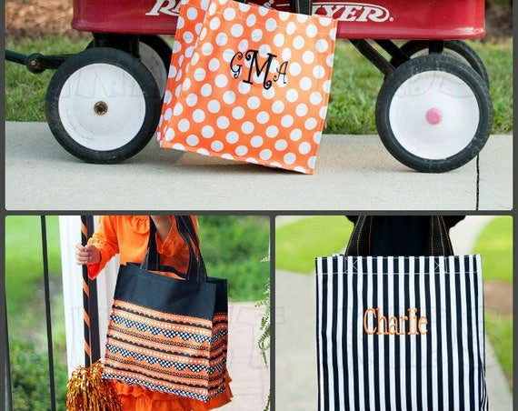 Personalized Halloween Trick-or-Treat tote Bags, Monogram included