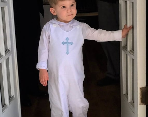 Boys Monogrammed White Longall, Monogram or Embroidered Cross, Monogrammed Jon Jon, Monogrammed Romper, Boys Shortall, Baptism outfit