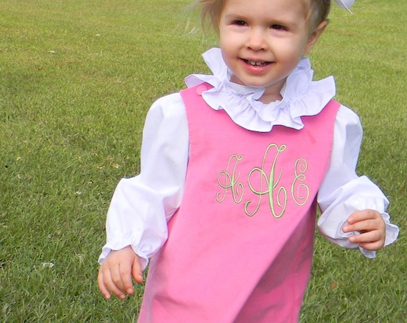 Monogrammed Pink Corduroy Jumper Dress