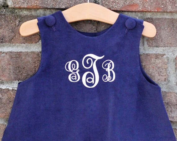 Girls Monogrammed Navy Corduroy Jumper Dress