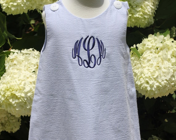 Girls Monogrammed Blue Seersucker Jumper Dress, Monogram Included, Personalized Seersucker Dress, Matching Boys jon jon available
