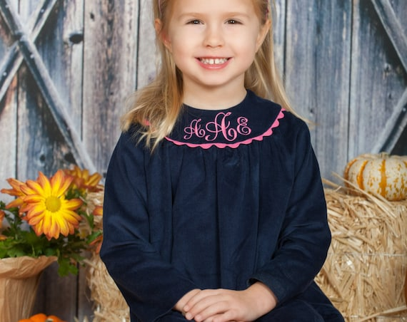 Girls Monogrammed Navy Corduroy Long Sleeve Dress