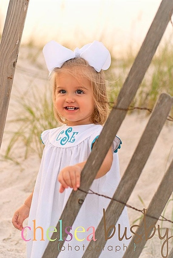 Monogrammed White Seersucker Dress with Angel Sleeve, Choose Rick Rack Trim color, Perfect for Beach Photos, Matching Boy outfit available