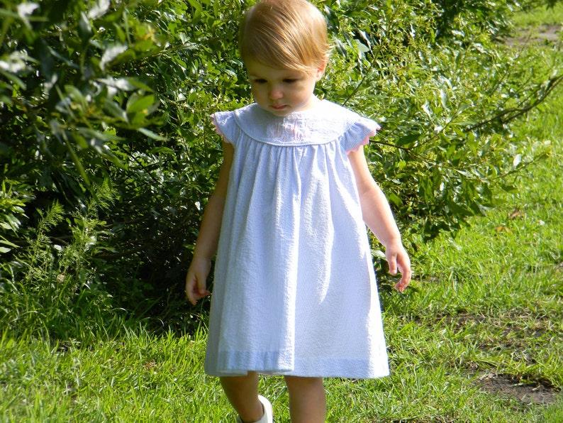 Girls Monogrammed Blue Seersucker Angel Sleeve Dress Monogram image 0