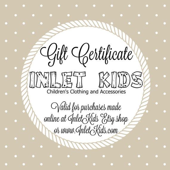 gift certificates inlet kids clothing and accessories