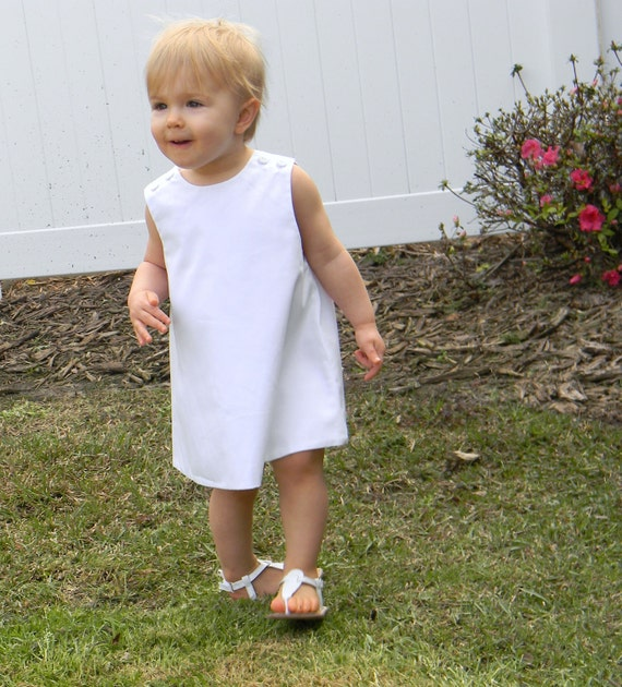 Girls White Pique Jumper Dress, Monogram it with purchase of Monogram Upgrade