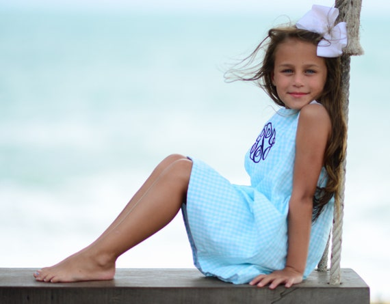 Girls Monogrammed Dress, Monogram Included, Matching Boys jon jon available, Gingham Dress, Monogrammed