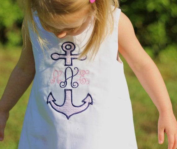Girls Monogrammed Nautical Split Anchor Jumper Dress