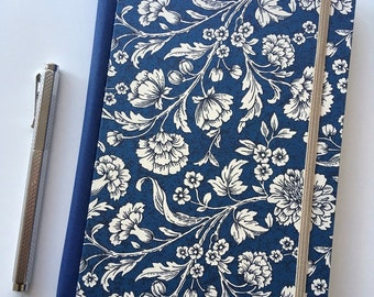 Florentine journal, florentine notebook, A5 lined,  flowers in blue, rossi paper, cloth spine, elastic