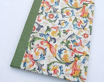 Florentine, journal, single signature, small, notebook, book cloth, recycled