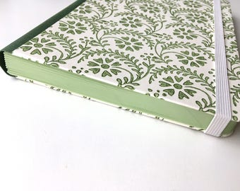 Green journal, green notebook, A5 lined notebook, florentine flowers, green leaves, rossi paper, cloth spine, elastic, coloured pages