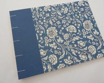 Wedding photo album, floral album, Coptic book, watercolour paper, florentine, blue, flowers, watercolour sketchbook, mother's day gift,