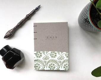 A6 Weekly, recycled planner 2019, Coptic planner, florentine planner, agenda 2019, minimalistic, green planner, zero waste