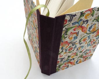 Notebook, A6, journal, elastic, recycled, Rossi, florentine, floral, classic, bookmark, blank, purple
