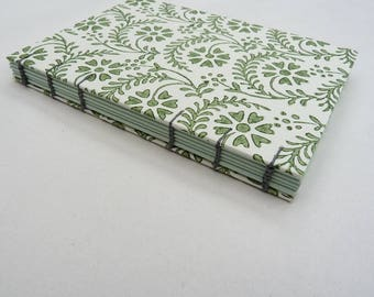 Florentine notebook A6, green flowers, coptic, floral notebook, lined journal, coloured pages, recycled paper