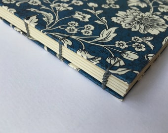 A5 Florentine notebook, journal, coptic notebook, flowers in blue, Florentine journal, Rossi, floral, recycled paper