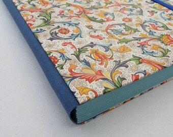 Florentine journal, classic florentine notebook, A5 lined, blue flowers, rossi paper, cloth spine, elastic, blue pages,