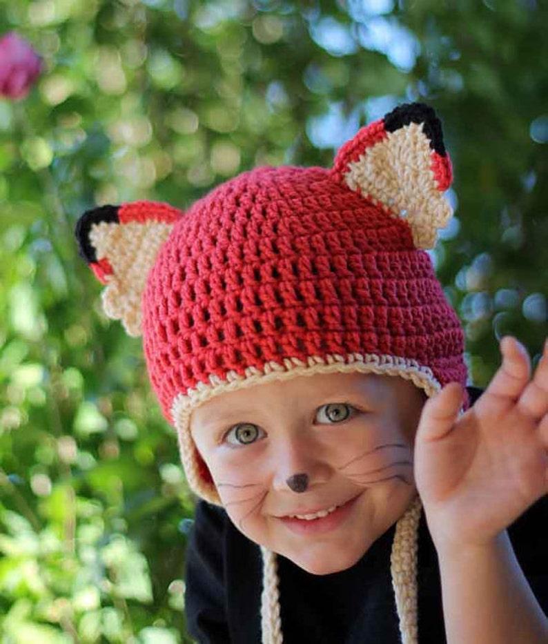 feb09f92beea8 Kids Red Fox Halloween Costume Crochet Earflap Hat and Tail