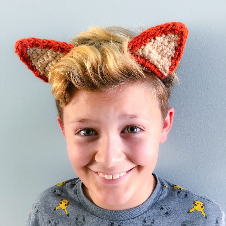 Orange and Pink One Size Fits Most Cat or Fox or Wolf Animal Ear Headband