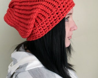 Coral Super Slouch Hat - Made to Order  - Crochet Hats by Julian Bean
