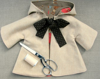 """Sewing Pattern and Tutorial for Hooded Coat for 18-20"""" Doll, PDF Pattern"""