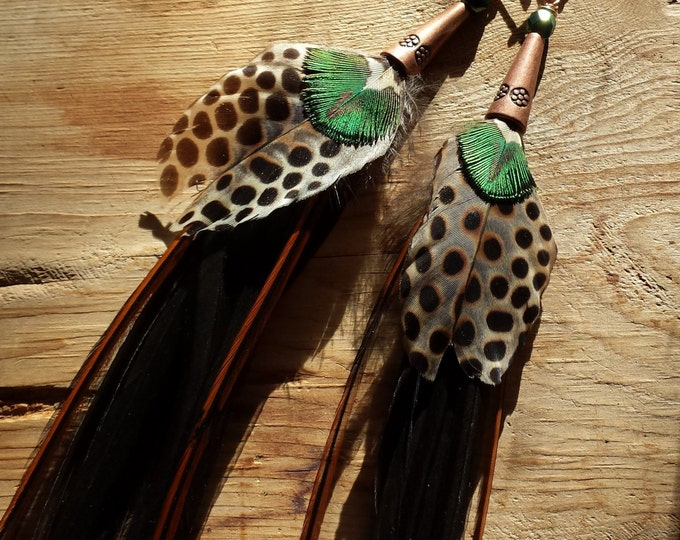 Featured listing image: RARE Dark Spotted Rare Long Rooster Feather Earrings--Argus Pheasant, Peacock, Black, Grey, Brown, Green Copper Earrings, Custom