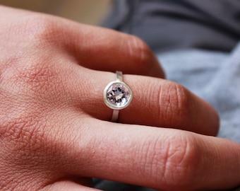 Minimal Engagement Ring | Amethyst Ring | Alternative Engagement Ring | Silver Ring | Handmade Ring | Bridal Ring | Wedding Ring