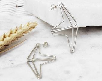 Statement Triangle Earrings | Sterling Silver Earrings | Geometric Earrings