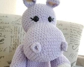 Big Hippo purple stuffed animal hippopotamus stuffie plushie