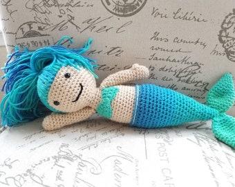 Mermaid stuffed doll green and blue plushie