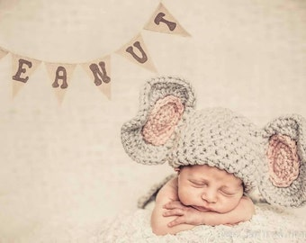 Baby elephant Set--newborn Photo Prop-- crochet