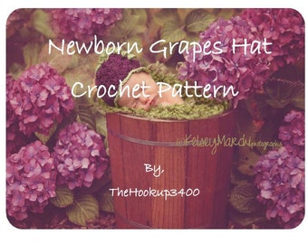 Instant download- Newborn Grape Hat- CROCHET PATTERN- permission to sell finished product