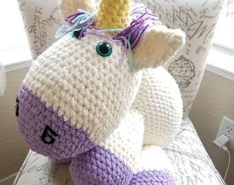 Unicorn so fluffy extra large crochet stuffed animal plushie