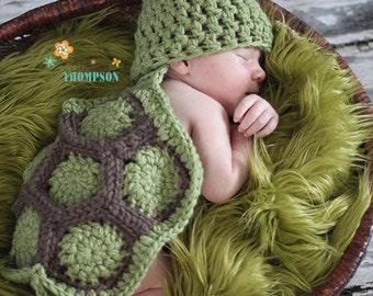 Baby Turtle Set--newborn Photo Prop-- crochet