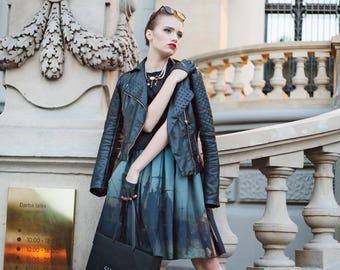 art print skirt plus size skirt custom size skirt gothic print skirt fine art printed skirt painting print skirt victorian style skirt city