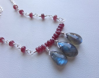 Ruby labradorite sterling silver necklace wire wrapped red grey gemstone necklace bar necklaace
