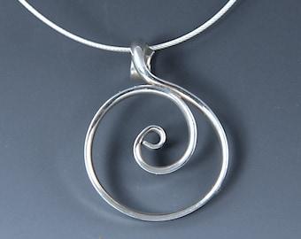 Argentium Sterling Circle Pendant, Shiny Silver Spiral Circle Necklace, Crashing Wave Necklace, Zen Pendant SN61