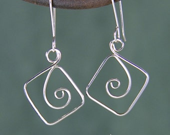 Square Spiral Silver Earrings,  Argentium Silver Square Spiral Earrings SE58