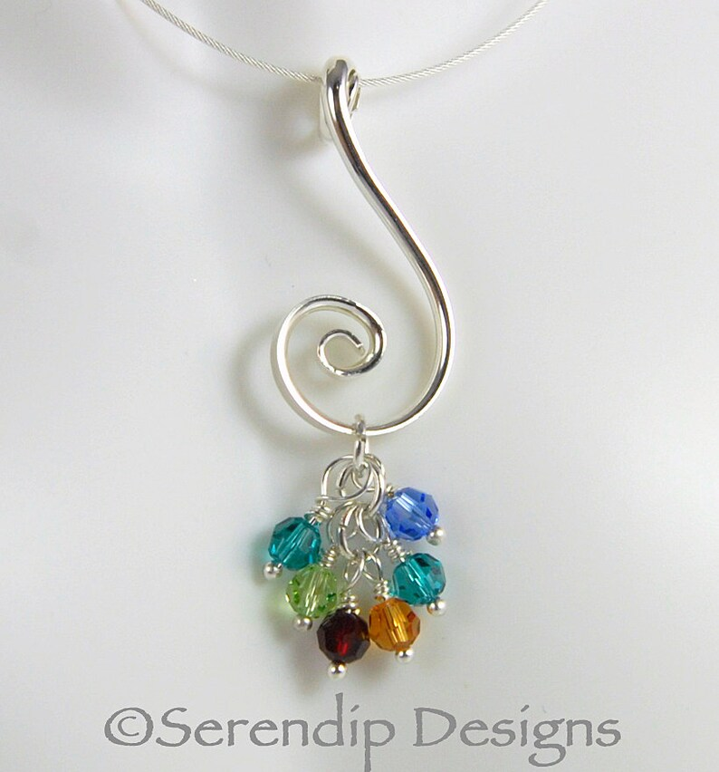 f63e09a49ed3c Argentium Sterling Silver Spiral Birthstone Pendant with Six Swarovski  Crystal Birthstone Dangles, Family Pendant, Grandmothers Necklace SN7