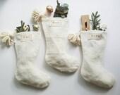 White Mudcloth Christmas Stockings with Pom Poms | Bohemian Christmas Décor | Boho Stocking Mud Cloth